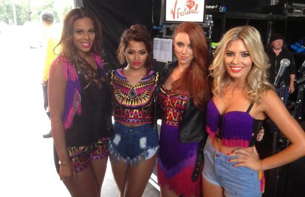 The Saturdays post picture from behind the scenes at V Festival, Weston Park, Staffordshire - 17 Aug 2013