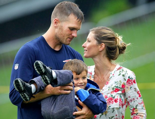 New England Patriots practice in Foxborough, Massachusetts, America - 13 Aug 2013 Tom Brady, Gisele Bundchen with son Benjamin