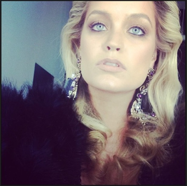Laura Whitmore Instagrams a series of pics with hairdresser Guy Kremer, behind-the-scenes at a photo shoot, 15 August 2013