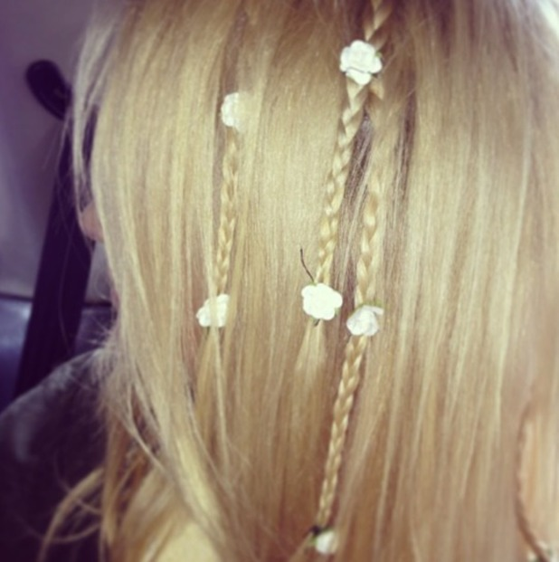 Pixie Lott's hairdresser Holly Rudge Instagrams pictures of her plaited hair with flowers ahead of V Festival, 16 August 2013