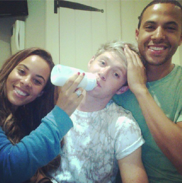 Rochelle and Marvin Humes do the night feed - with One Direction's Niall Horan - 14 August 2013