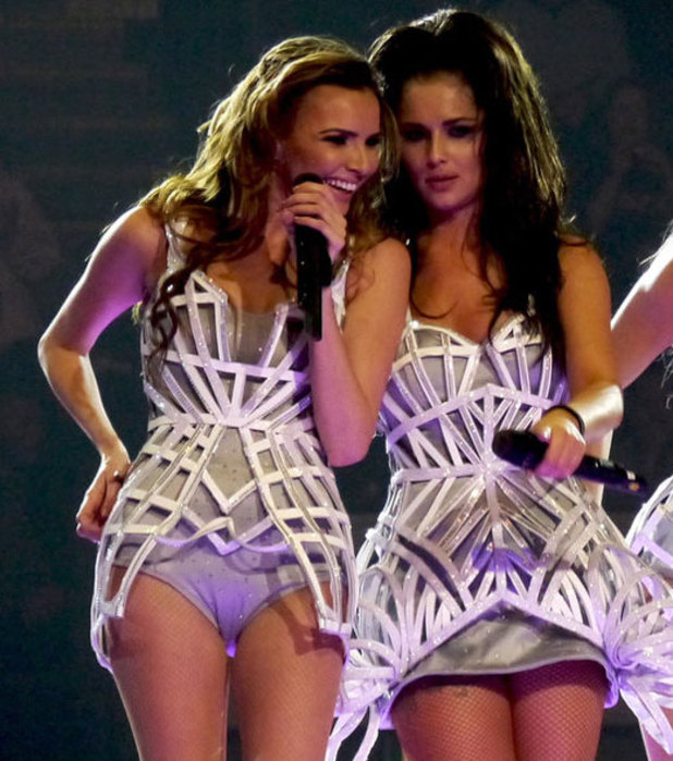 Nadine Coyle and Cheryl Cole on Girls Aloud 10 Tour in Nottingham, 2013