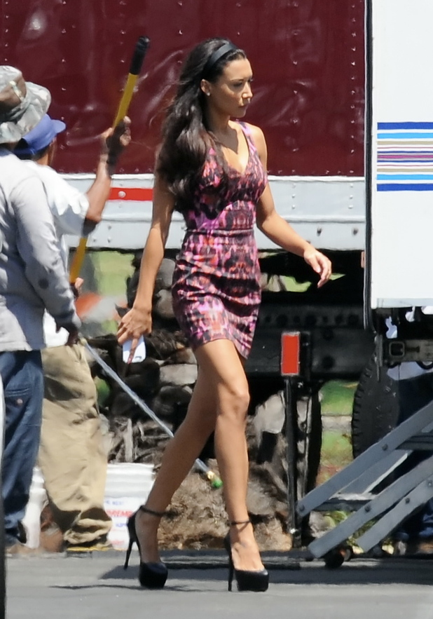 Naya Rivera seen filming Glee in filming in Pasadena Ca - 12 August 2013