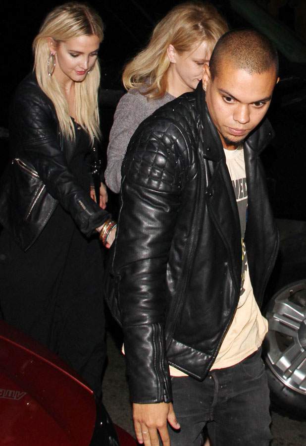 Ashlee Simpson and Evan Ross arrive at Aventine Restaurant in Hollywood with friends, 9 August 2013