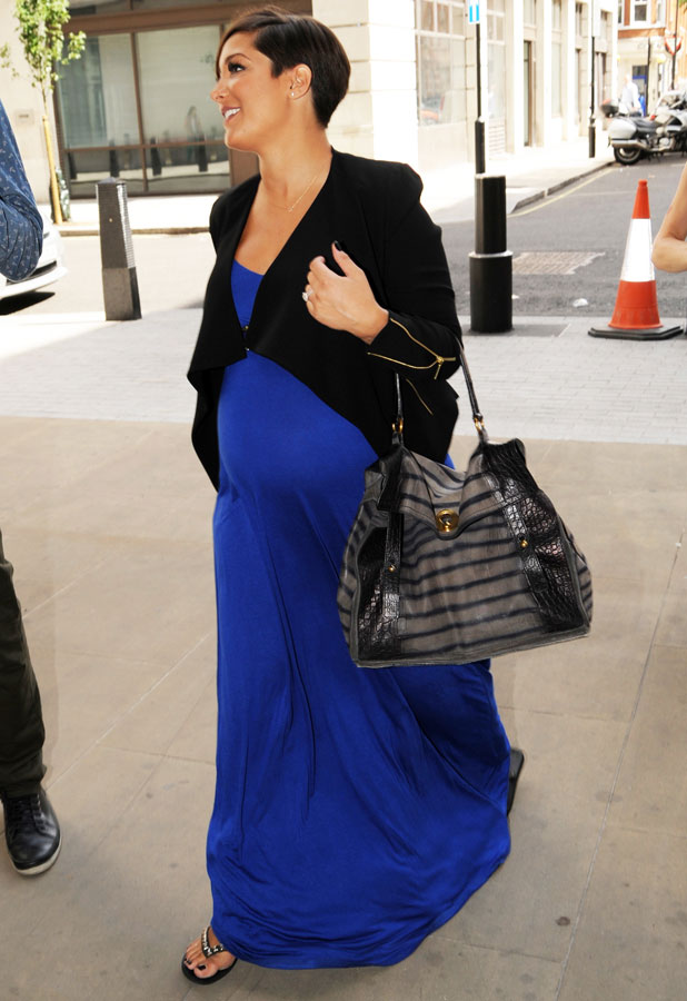 A heavily pregnant Frankie Sandford of The Saturdays arrives at the BBC Radio 1 studios