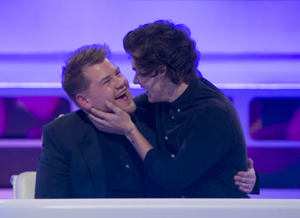 Harry Styles kisses James Corden on A League of Their Own
