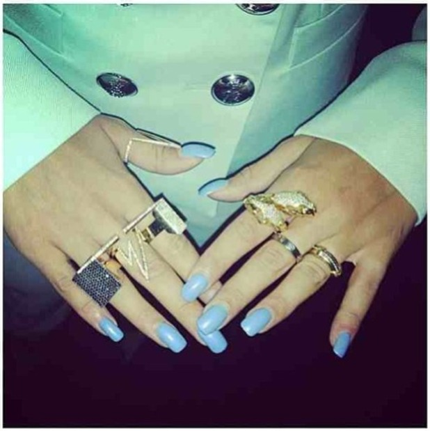 Rita Ora shows off her pastel blue nails and Jennifer Fisher Jewelry
