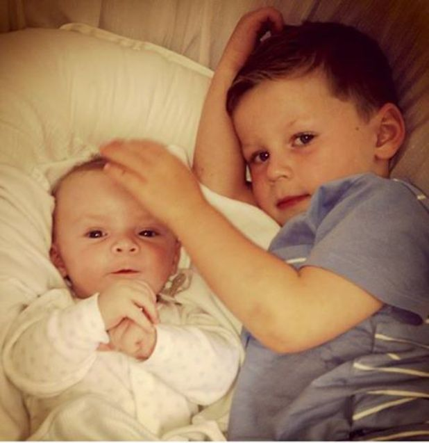 Coleen Rooney shares a picture of Klay and Kai having morning cuddles - 21 August 2013
