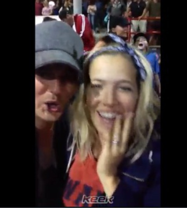 Michael Buble and pregnant Luisana Lopilato at a baseball game - 18 August 2013