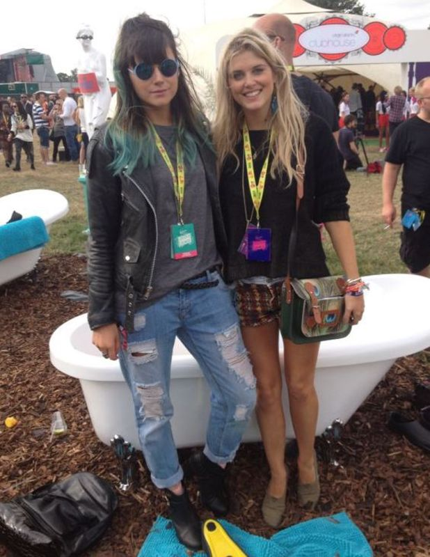Made In Chelsea's Ashley James and Lilah Parsons at V Festival, 17 August, Chelmsford