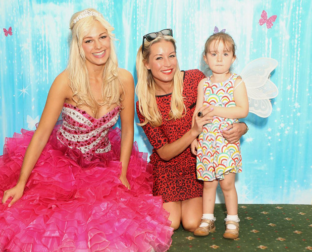 Denise Van Outen and Betsy attend the Barbie™ Mariposa & the Fairy Princess DVD & Blu-ray launch event at ZSL London Zoo