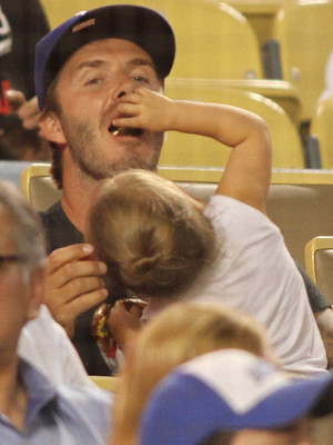 David Beckham takes Harper to the LA Dodgers game - 28 August 2013