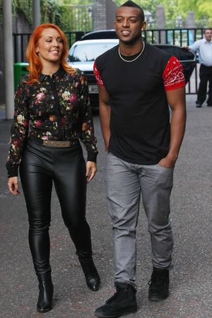 Oritse Williams and is girlfriend Aimee Jade outside the ITV studios - 28 August 2013