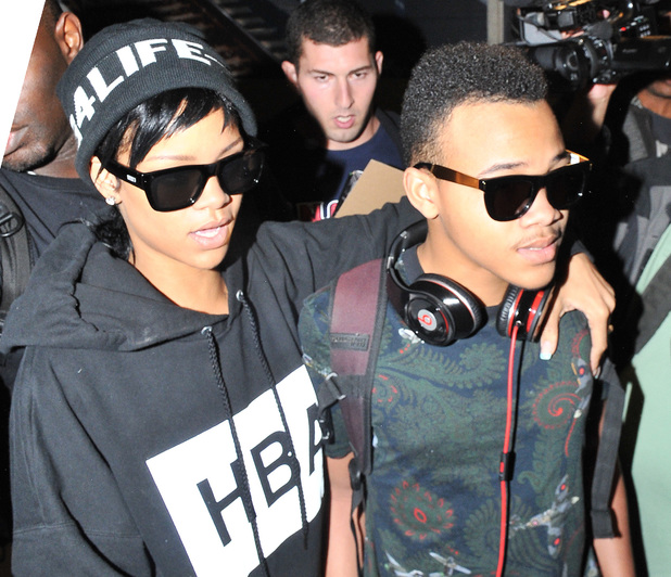 Rihanna and her younger brother Rajad arrive at Los Angeles International Airport - 27.8.2013