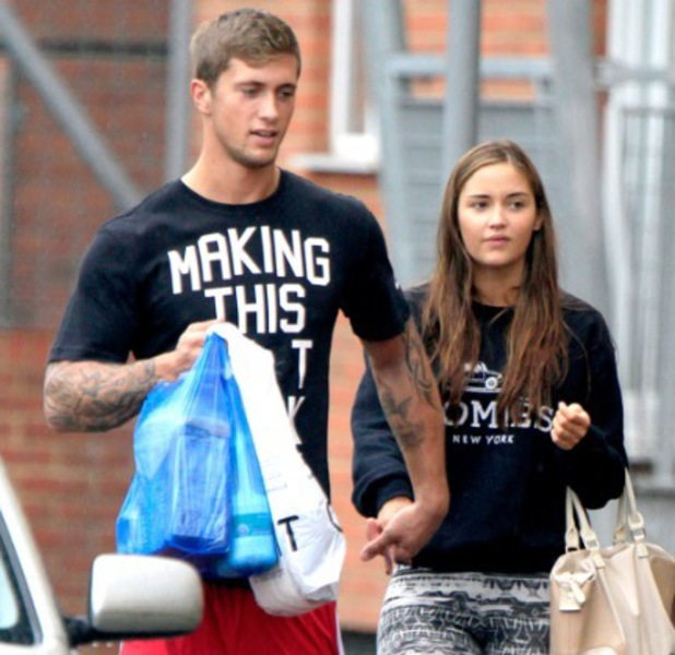 Jacqueline Jossa and Dan Osborne hold hands in London, 24, August 2013
