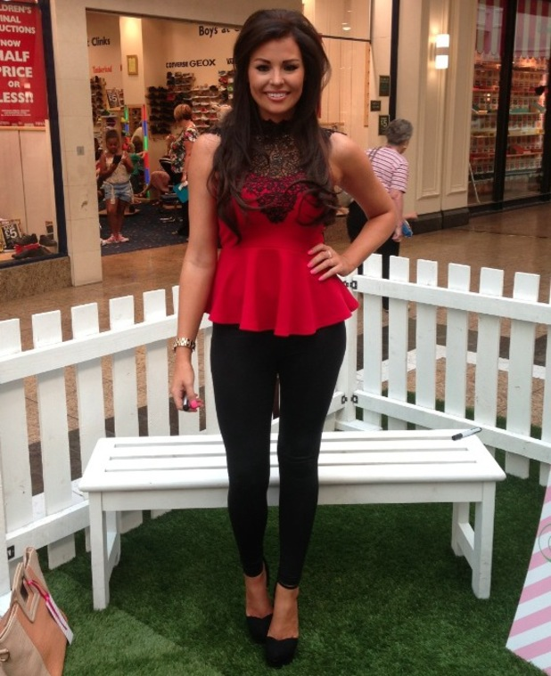 Jessica Wright poses on Day 2 of her pop up shop in Meadowhall in Sheffield - 27 August 2013