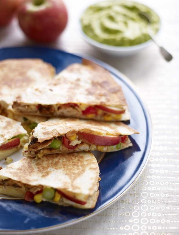 Apple and chicken quesadillas