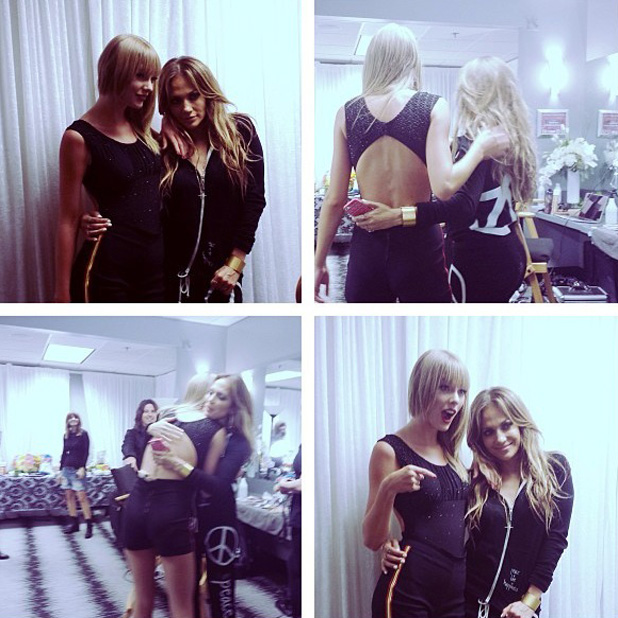 Jennifer Lopez and Taylor Swift perform together during Taylor's 'Red' tour. (25 August)