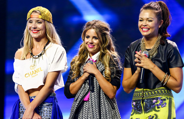 X Factor 2013 hopefuls. Day 3 of X Factor Wembley Arena auditions. The Dolly Rockers -  Lucie Kay, Sophie King and Daniele Owen