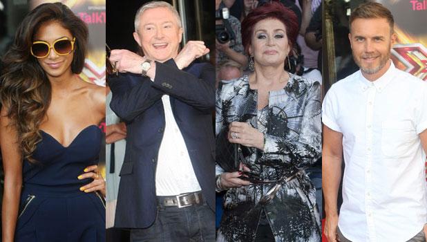 Composite: X Factor judges at 2013 press launch, London, 29 August 2013