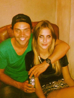 Made In Chelsea's Andy Jordan and Lucy Watson after a day of filming