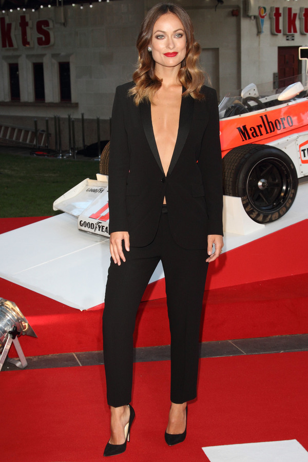 Olivia Wilde wearing a black tuxedo at the Rush premiere in Leicester Square - London, 2nd September 2013