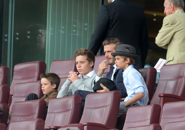 David Beckham with sons Brooklyn Beckham, Romeo Beckham and Cruz Beckham at Arsenal v Tottenham Hotspur, Barclays Premier League - 01 Sep 2013