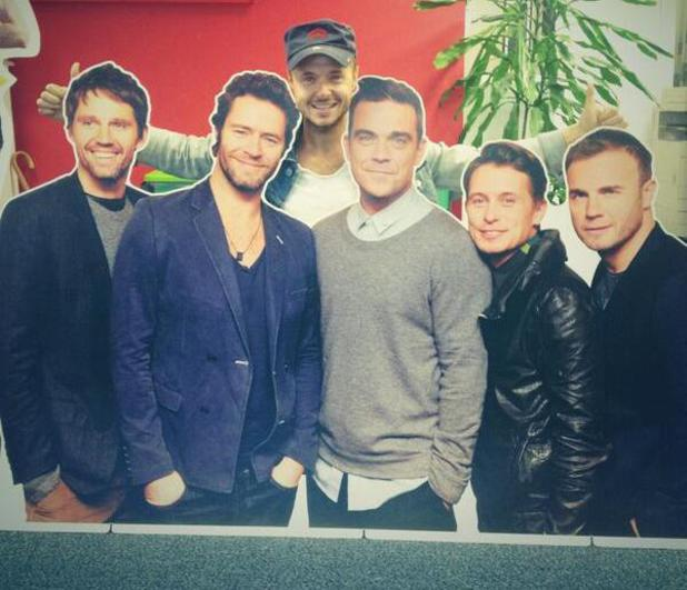 Lee Brennan poses with cutout of Take That - 4 September 2013
