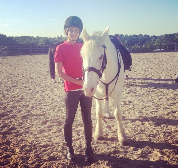 Tulisa rides white horse - September 2013
