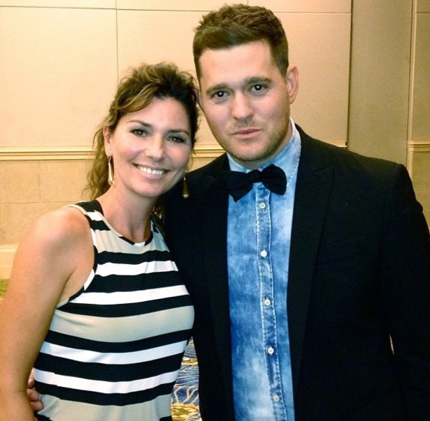 Michael Buble meets Shania Twain backstage at a concert in the Bahamas - 1 September 2013