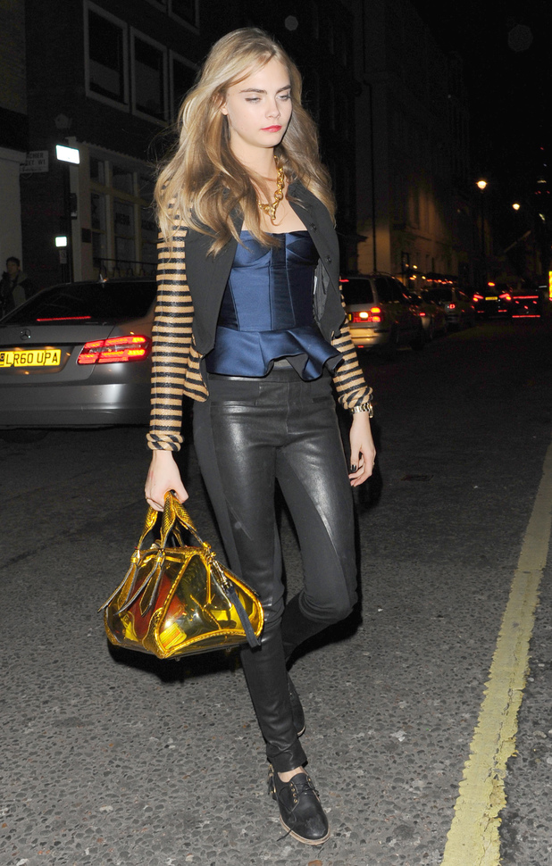 Cara Delevingne with her see-through bag