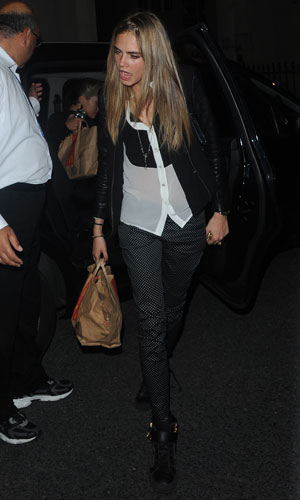 Cara Delevingne and Rita Ora return back to Cara's home with large bags of take away food from McDonald's after partying all night, 3 September 2013