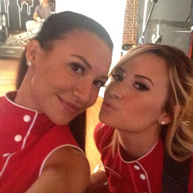 Demi Lovato and Naya Rivera on the set of Glee