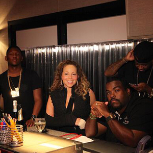 Mariah Carey with music producers Jermaine Dupri, Darkchild, Hit-Boy and Mike Will working on her new studio album. (13 September)