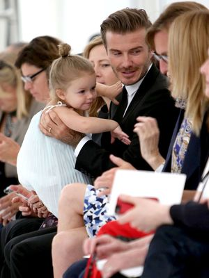 Victoria Beckham Fashion show, Spring Summer 2014, Mercedes-Benz Fashion Week, New York, America - 08 Sep 2013 David Beckham with Daughter Harper,