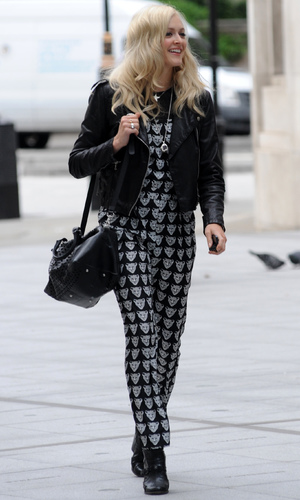 Fearne Cotton arriving at Radio 1 in lion print jumpsuit - 11 September 2013