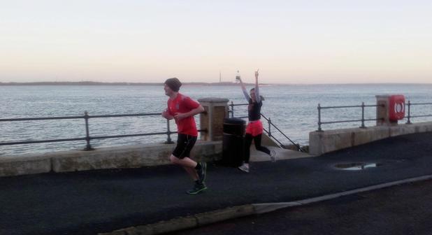 Hannah Doyle on a run with her boyfriend - Wedding blog use ONLY