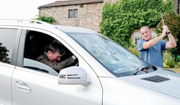 Emmerdale, Jimmy smashes Steve's windscreen, Wed 11 Sep