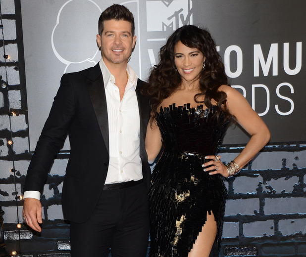 MTV Music Awards held at the Barclays Center. - August 2013 Robin Thicke, Paula Patton