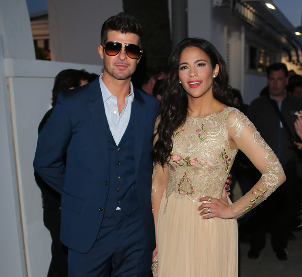 Paula Patton and Robin Thicke at Vanity Fair Party during 66th Cannes Film Festival at Tetou restaurant. 19.5.2013