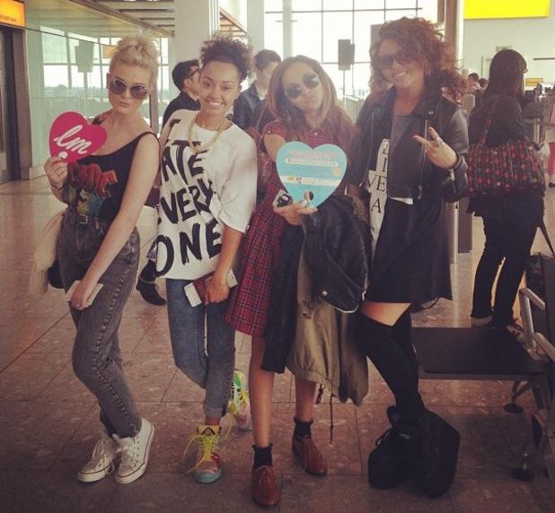Little Mix at Narita International airport, Chiba pref, Japan - 11 Sep 2013 Perrie Edwards Jesy Nelson, Jade Thirlwall, Leigh Anne Pinnock