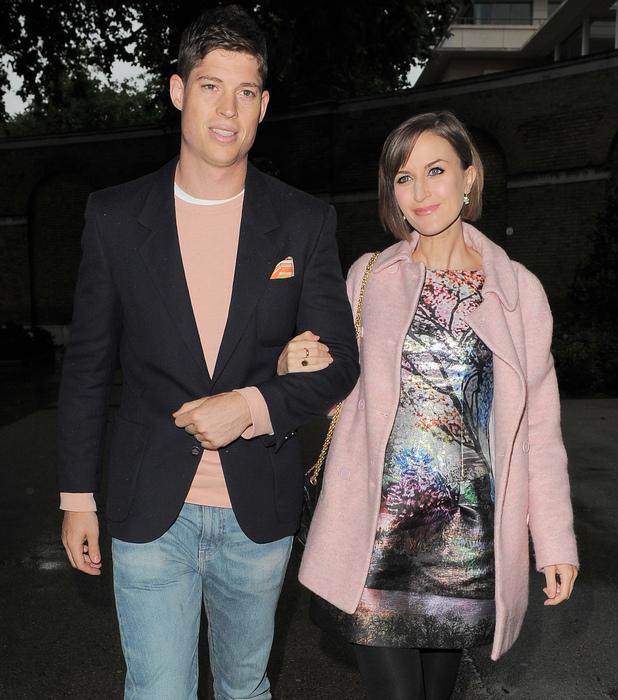 Katherine Kelly and her husband Ryan Clark depart LFW - Jasper Conran