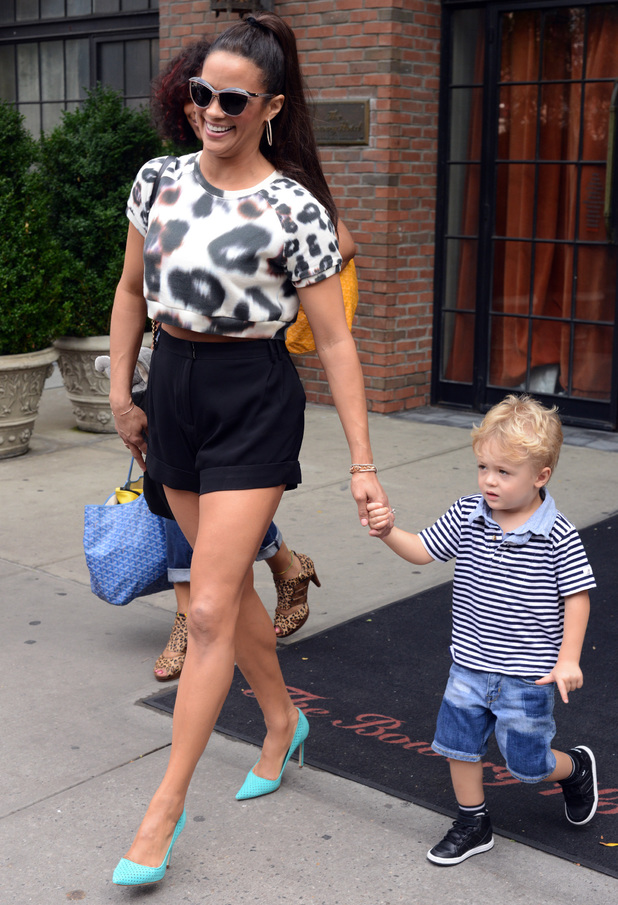 Paula Patton, her son Julian Thicke and Robin Thicke spotted leaving their Manhattan Hotel - 31.7.2013