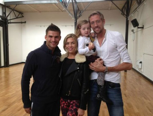 Peter Crouch and Sophia visit Abbey Clancy and AljazSkorjanec at Strictly Come Dancing rehearsals, 11 September 2013