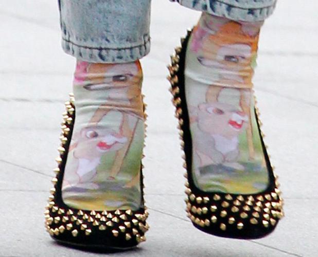 Fearne Cotton heads to work wearing Bambi socks on 10 September 2013