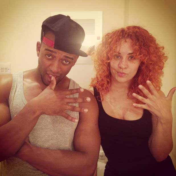 Oritsé Williams and his girlfriend AJ Azari backstage on Stepping Out