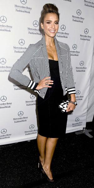 Jessica Alba attends the Diane Von Furstenberg SS14 catwalk show at NYFW 08/09/13