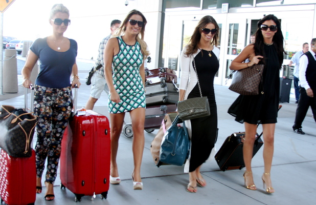 Cast members of 'The Only Way Is Essex' arrive at McCarran International Airport. The TOWIE stars are expected to stay in Las Vegas for the next couple of weeks, to film upcoming episodes of the hit UK reality show, Sept 22 2013