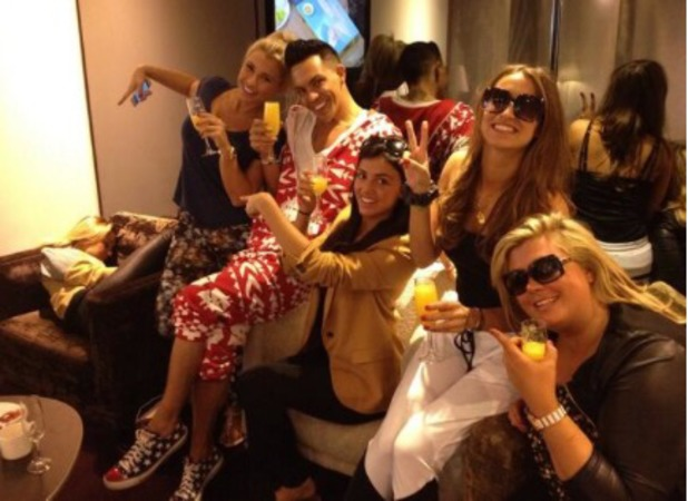 Bobby Norris and the cast of TOWIE ahead of their flight to Vegas for a special TOWIE episode, Sept 21 2013