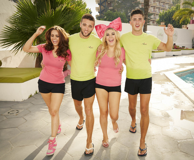 THE MAGALUF WEEKENDER - Tuesday 17th September 2012 on ITV 2 Pictured: (l-r) Reps Jaime Leigh new boy Tobi Imogen and Jordan by the pool at the Lively Hotel, Magaluf